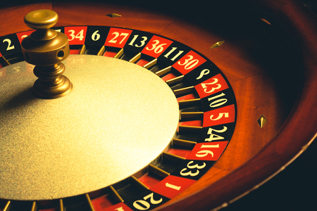 spinning wheel: Old Roulette wheel. casino series. studio shot Stock Photo