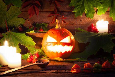 Halloween pumpkins on wooden table background. Studio shot