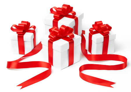 ribbon bow: White gift boxes with red ribbon bow, isolated on white background