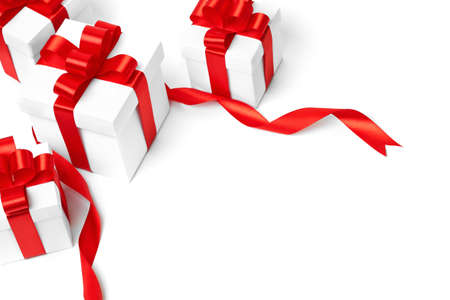 ribbon bow: White gift box with red ribbon bow, isolated on white background
