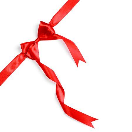 uomo rosso: Nastri rossi con fiocco con la coda isolato su sfondo bianco
