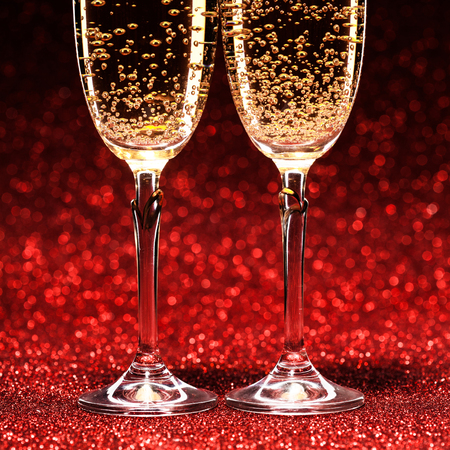 champagne glass: Pair glasses of champagne. Stock Photo