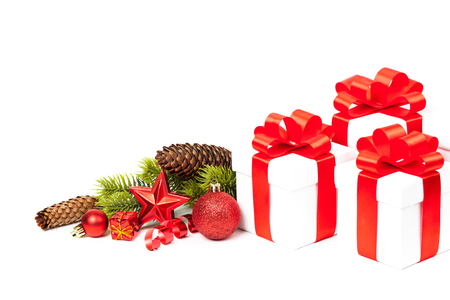christmas atmosphere: christmas gift with decoration isolated on white background
