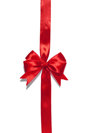Red ribbons with bow with tails isolated on white background Archivio Fotografico