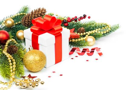 navidad navidad: christmas gift with decoration isolated on white background