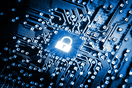 Lock on computer chip - technology security concept Standard-Bild
