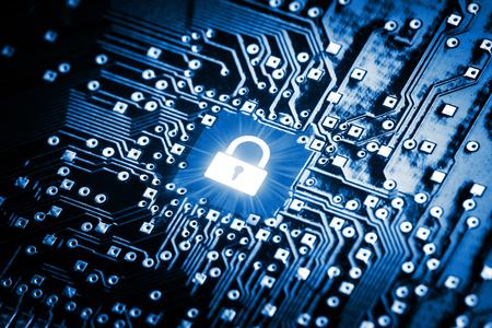 Vergrendelen op computer chip - technologie veiligheidsconcept