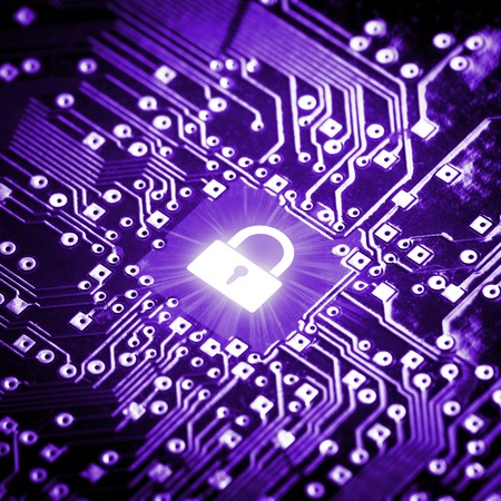 security technology: Lock on computer chip - technology security concept Stock Photo