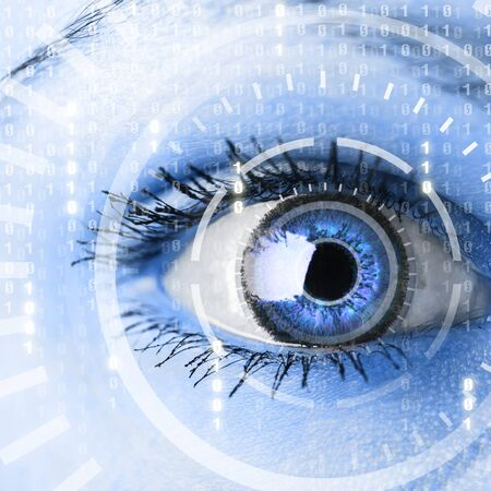 cyber woman: Future woman with cyber technology eye panel concept