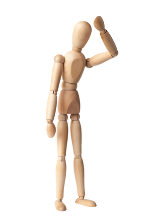 proportions of man: Wooden Dummy Isolated Over White Background with clipping path