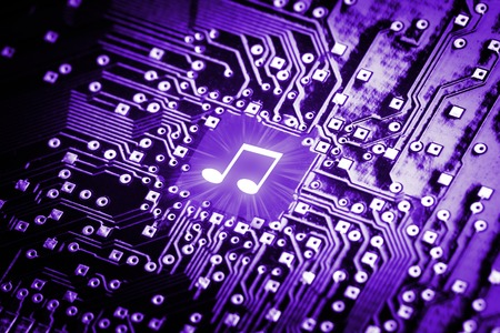 computer chip: Music note on computer chip - technology concept