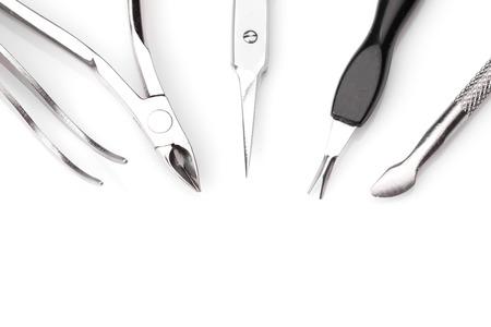 manicure set: Tools of a manicure set on a white background. Studio shot