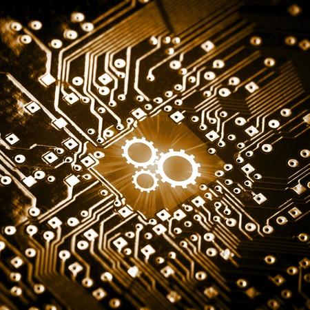 Toestellenpictogram op computerchip - technologieconcept Stockfoto