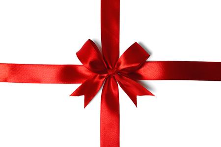 Red ribbon bow on white background. studio shot Stock Photo