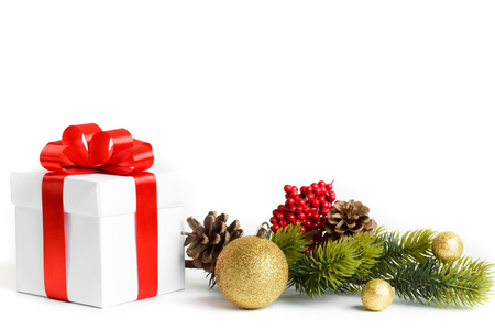 Gift with christmas tree isolated on white background