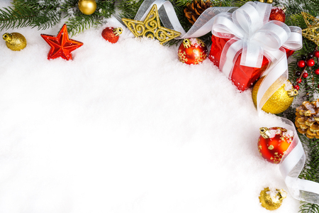 christmas gift with decoration on white background. xmas day