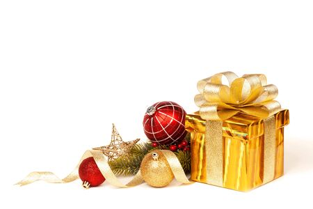 Christmas Gold Gift isolated on white. Studio shot