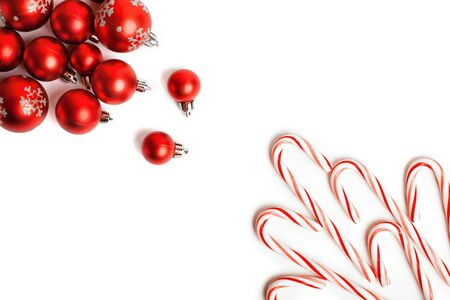 Christmas Decoration. Red Balls And Bells. Natural Linen Background.