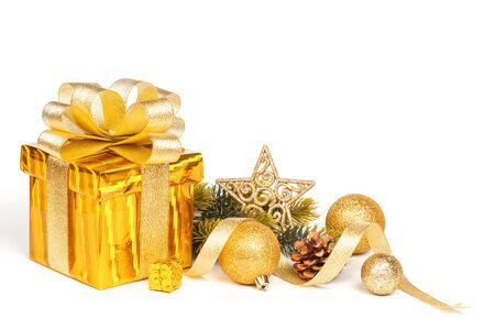 colden: Christmas Gold Gift isolated on white. Studio shot