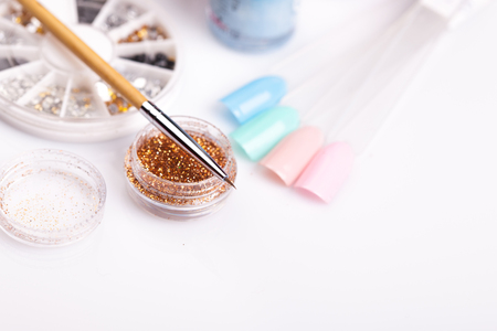 materials for manicure on a white background. studio shot Imagens