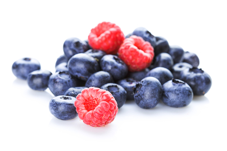 Raspberries and blueberries Stock Photo