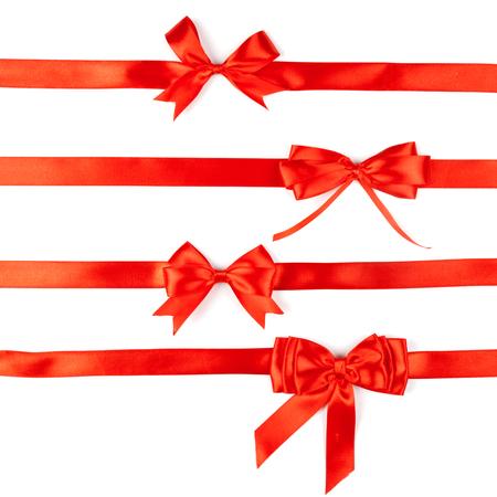 set of four red ribbon satin bows Stock Photo