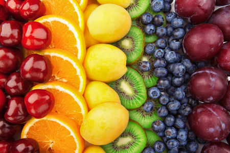 Colorful fruits rows