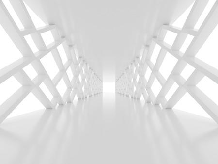Futuristic white tunnel Stock Photo