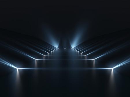 Futuristic dark podium with light and reflection background