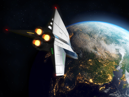 Space Shuttle Orbiting Earth. Elements of this image furnished by NASA.