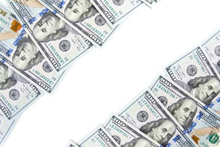 A border of American money isolated on white. Money Border of hundred dollar bills
