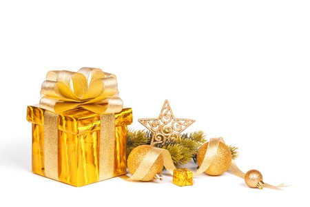 christmas gift box and baubles Stock Photo