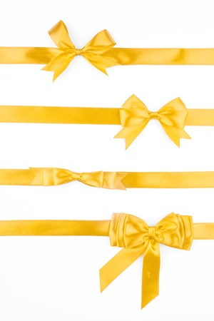 Set of yellow festive bows Stock Photo
