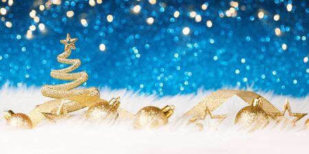 Christmas Tree - Blue Glitter sparkling Stock Photo