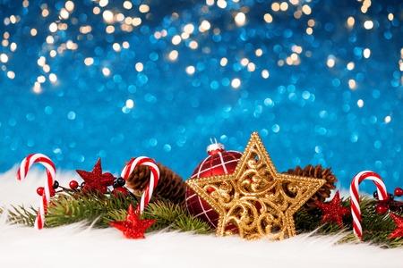 Stella di Natale e decorazione Archivio Fotografico - 91960275