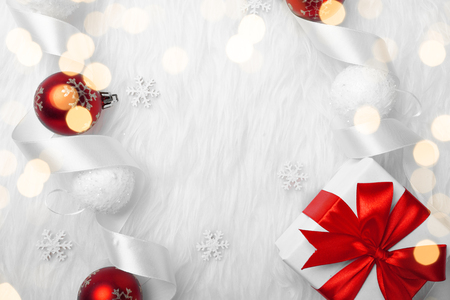 Christmas holidays composition on white fur background