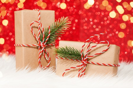 Christmas vintage presents on red background
