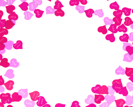 Valentines Day hearts border of red and pink sprinkles