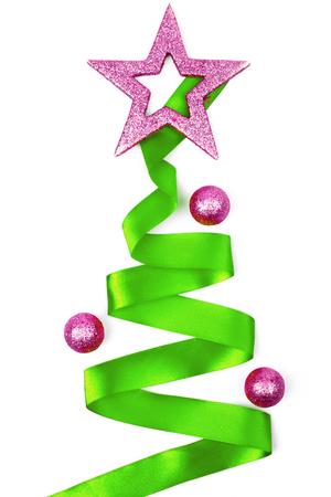 Christmas tree from ribbon background Stock Photo