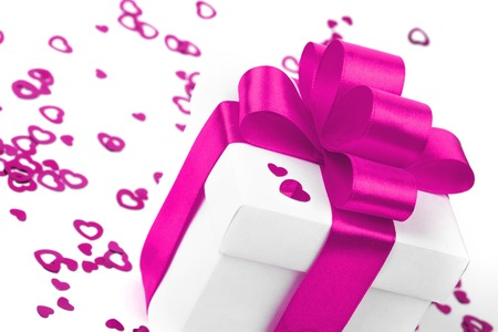 Gifts boxes with textile hearts  valentines day concept Stock Photo