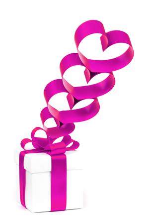 holiday gift box with purple ribbon