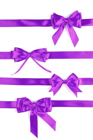 set of purple ribbon satin bows Stock Photo