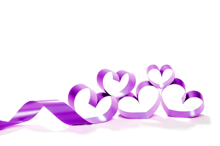 Valentine Heart. Elegant Red satin gift Ribbon.