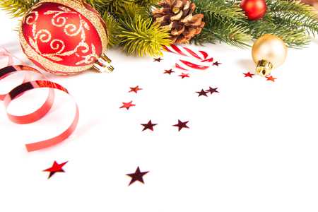 Christmas frame background with baubles decor and decoration