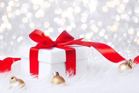 christmas gift with yellow balls bow Stock Photo