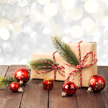 Christmas vintage gift isolated on white