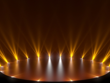Free stage with lights, lighting devices