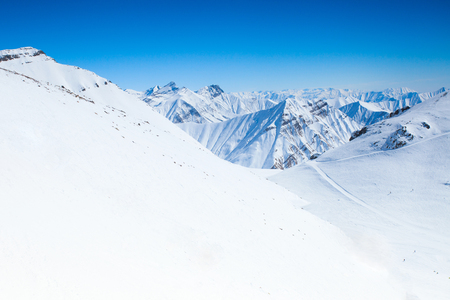 view of the beautiful winter mountains