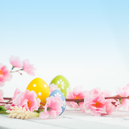 Easter eggs on a wooden table Stock Photo