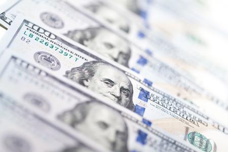 Macro shot of a 100 dollar Stock Photo